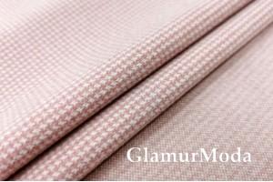"Пальтовая ткань ""Пепита"" розового цвета"