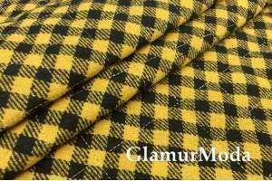 Пальтовая ткань на синтепоне в черно-желтую клетку
