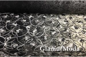 Пальтовая ткань с вышивкой, серый цвет
