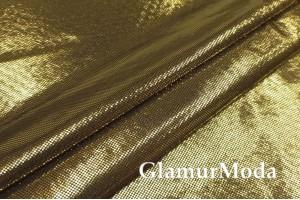 Ткань парча стрейч цвета желтого золота на черной основе