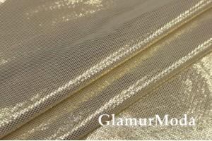 Ткань парча стрейч цвета белого золота