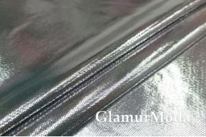 Ткань парча стрейч серебряного цвета на черной основе
