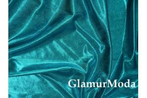 Ткань парча стрейч бирюзово-голубого цвета