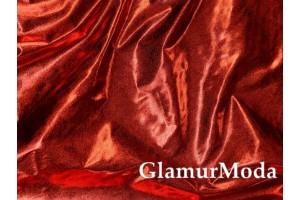Ткань парча стрейч темно-красного цвета