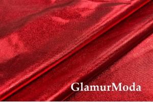 Ткань парча стрейч красного цвета на черной основе