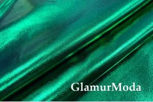 Ткань парча стрейч зеленого цвета