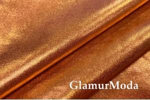 Ткань парча стрейч оранжевого цвета