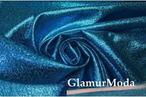 Парча жаккард бирюзово-голубого цвета
