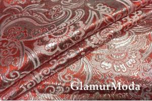 Ткань парча жаккард красно-серебряного цвета