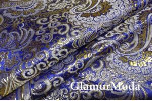 Ткань парча жаккард сине-золотого цвета с орнаментом