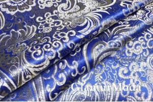 Ткань парча жаккард сине-серебряного цвета с орнаментом