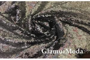 Пайетки на сетке серебряного цвета на черной основе
