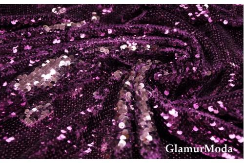 Двусторонние пайетки чешуя, цвет фиолетовый-серебро