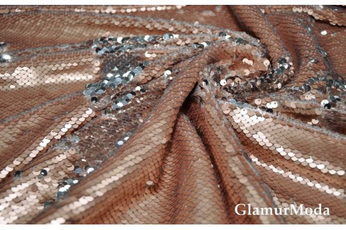 Двусторонние пайетки чешуя, цвет пудра-серебро