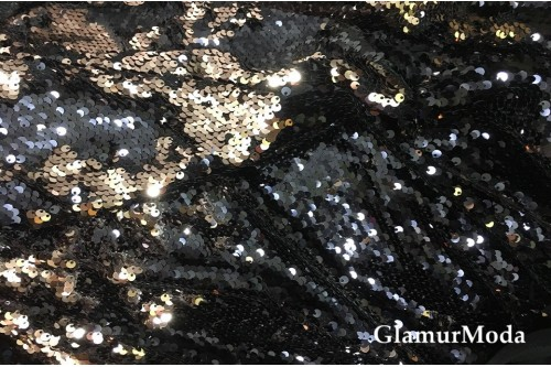 Двусторонние пайетки чешуя, цвет глубокий темно-синий и бронза