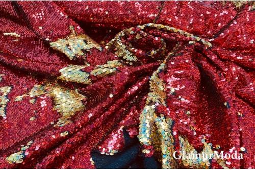 Двусторонние пайетки-голограмма на масле, красный-золото