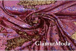 Двусторонние пайетки-голограмма на масле, золото-розовый