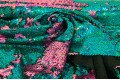 Двусторонние пайетки-голограмма на масле, зеленая бирюза-розовый
