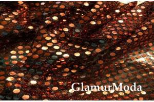 Пайеточная ткань Копейка бронзового цвета