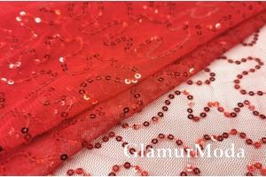 Пайетки на сетке насыщенно красные полоски