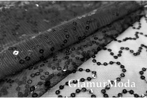 Пайетки на сетке чёрные полоски
