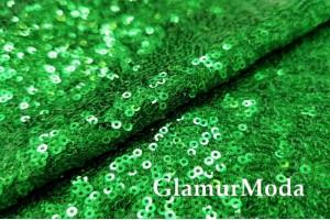 Пайетки на сетке зеленого цвета