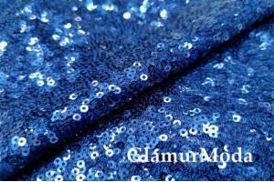Пайетки на сетке синего цвета