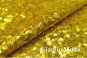 Пайетки на сетке желтого цвета