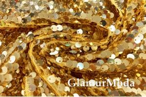 Пайетки на сетке, 6 мм, золотого цвета