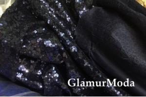 Ткань пайетки тёмно-синие на трикотаже-масло