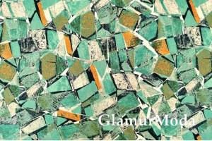 Мосс креп TORINO, зелёная мозаика PN3005