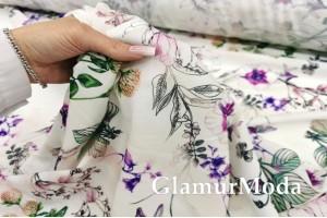 Мосс креп TORINO, фиолетовые цветы PN3005
