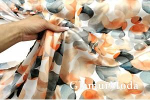 Шифон сатин AMELIA, разноцветные круги PN3016