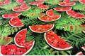 Вискоза-вуаль LAMBDA, сочные арбузики и листья, Турция, арт. 2004-10