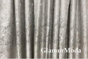 Портьерная ткань (купон 300 см), светло-серое сияние