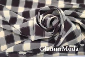 Костюмная ткань Пикачу черно-бежевые квадраты