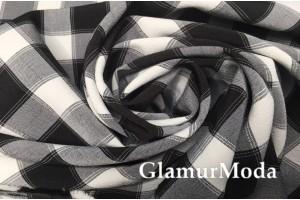 Костюмная ткань Пикачу черно-белые  квадраты