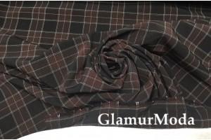 Костюмная ткань Пикачу черно-коричневые квадраты