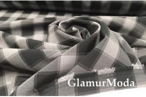 Костюмная ткань Пикачу черно-серые квадраты