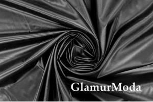 Ткань подкладочная черного цвета, глянец, Италия, арт. 7392/7