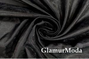 """Подкладочная ткань с вискозой """"Огурцы"""", черный цвет"""