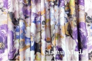 """Двухсторонний Блэкаут лен """"Акварельные цветы"""" абстрактные, цвет фиолетовый (2)"""