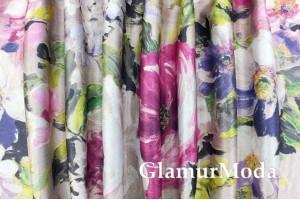 """Двухсторонний Блэкаут лен """"Акварельные цветы"""" абстрактные, розовые на бежевом (3)"""