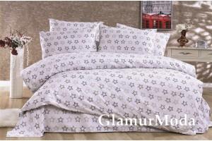 2-х спальный комплект постельного белья звезды на белом фоне, Турция