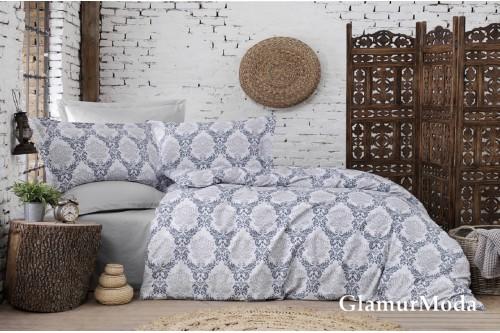 2-х спальный комплект постельного белья Дамаск на сером фоне, Турция