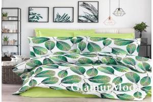 2-х спальный комплект постельного белья зеленые листья на белом, Турция