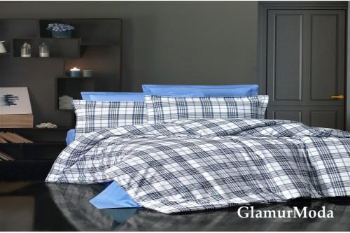 2-х спальный комплект постельного белья чёрно-голубые полоски на белом, Турция