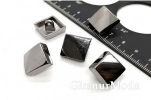 Пуговица металлическая на ножке, цвет никель, 16 мм, Ж-17