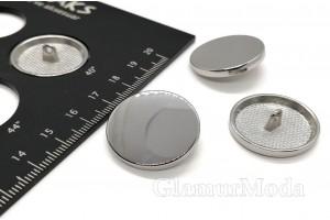 Пуговица металлическая на ножке, серебряный цвет, 25 мм, Ж-25