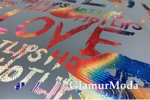 "Светоотражающая ткань (рефлектив), ""Love"" с яркими рисунками"